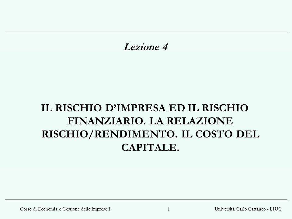Corso di Economia e Gestione delle Imprese IUniversità Carlo Cattaneo - LIUC 12 Capital Asset Pricing Model (CAPM) In un mercato perfettamente concorrenziale il premio atteso per il rischio varia in modo direttamente proporzionale al beta