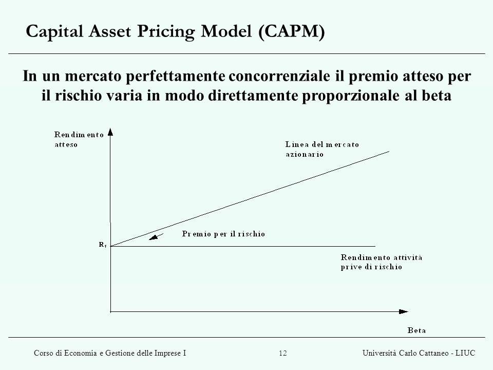 Corso di Economia e Gestione delle Imprese IUniversità Carlo Cattaneo - LIUC 12 Capital Asset Pricing Model (CAPM) In un mercato perfettamente concorr