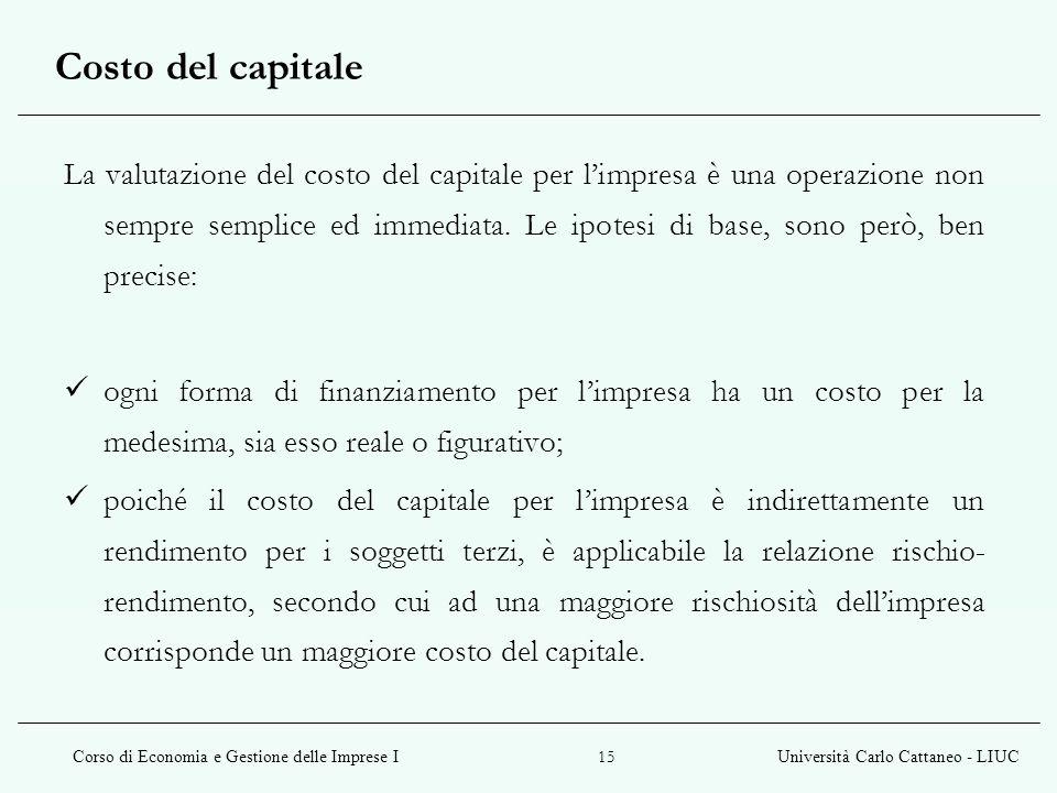 Corso di Economia e Gestione delle Imprese IUniversità Carlo Cattaneo - LIUC 15 Costo del capitale La valutazione del costo del capitale per limpresa