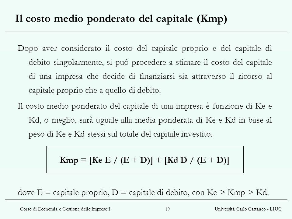 Corso di Economia e Gestione delle Imprese IUniversità Carlo Cattaneo - LIUC 19 Il costo medio ponderato del capitale (Kmp) Dopo aver considerato il c