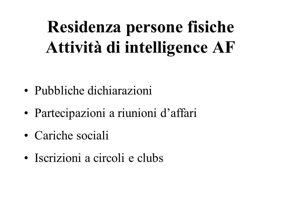 Residenza persone fisiche Attività di intelligence AF Pubbliche dichiarazioni Partecipazioni a riunioni daffari Cariche sociali Iscrizioni a circoli e
