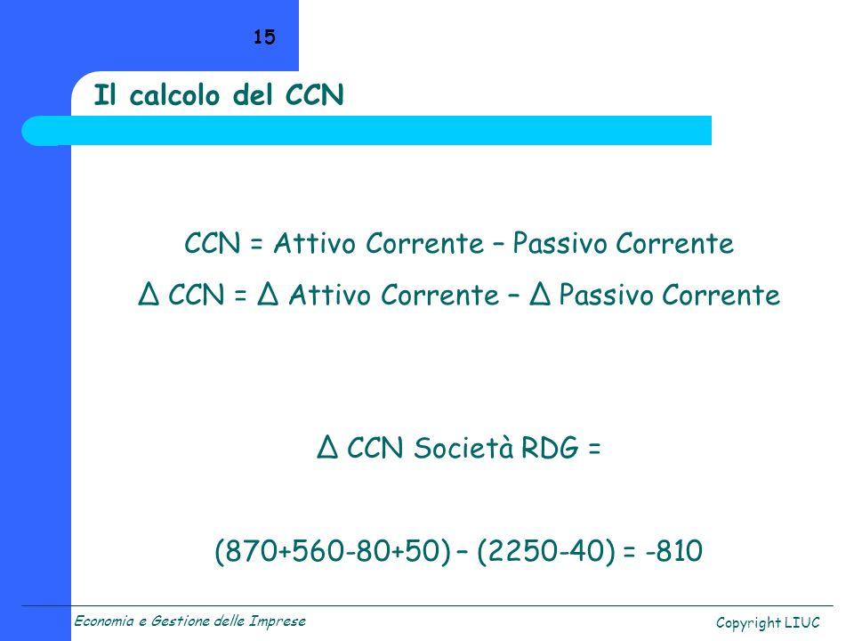 Economia e Gestione delle Imprese Copyright LIUC 15 CCN = Attivo Corrente – Passivo Corrente CCN Società RDG = (870+560-80+50) – (2250-40) = -810 Il c