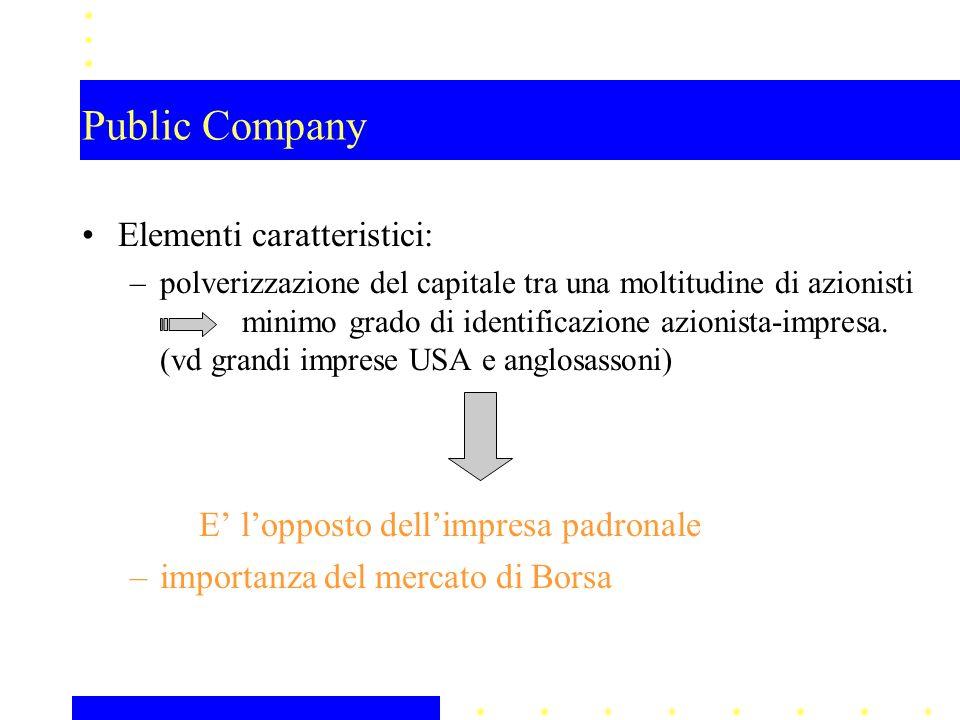 Public Company Elementi caratteristici: –polverizzazione del capitale tra una moltitudine di azionisti minimo grado di identificazione azionista-impresa.
