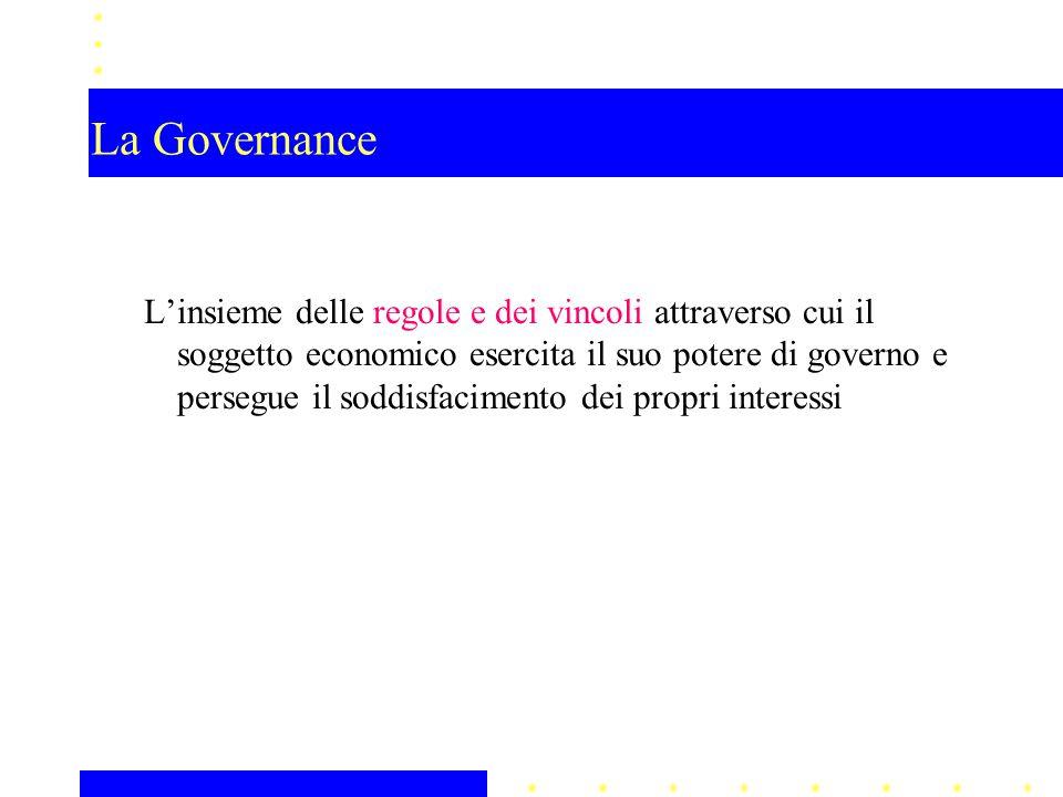 La Governance Linsieme delle regole e dei vincoli attraverso cui il soggetto economico esercita il suo potere di governo e persegue il soddisfacimento dei propri interessi