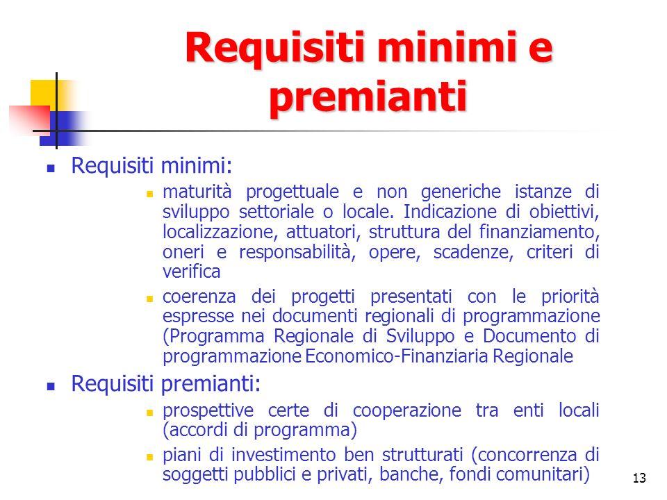 13 Requisiti minimi e premianti Requisiti minimi: maturità progettuale e non generiche istanze di sviluppo settoriale o locale. Indicazione di obietti