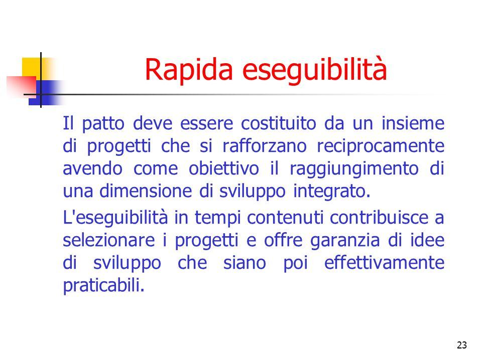 23 Rapida eseguibilità Il patto deve essere costituito da un insieme di progetti che si rafforzano reciprocamente avendo come obiettivo il raggiungimento di una dimensione di sviluppo integrato.