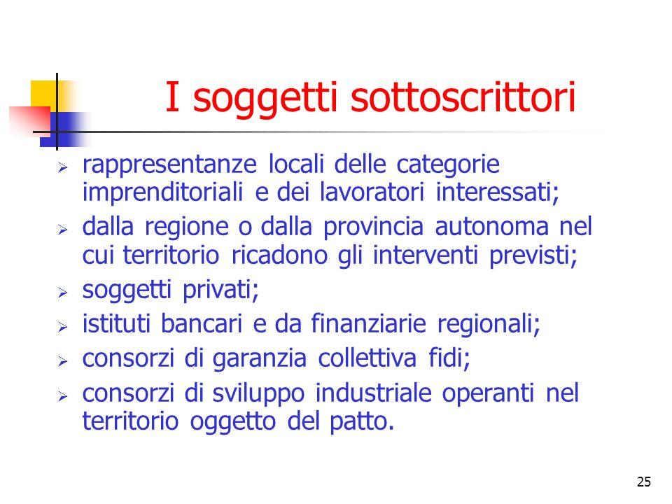 25 I soggetti sottoscrittori rappresentanze locali delle categorie imprenditoriali e dei lavoratori interessati; dalla regione o dalla provincia auton