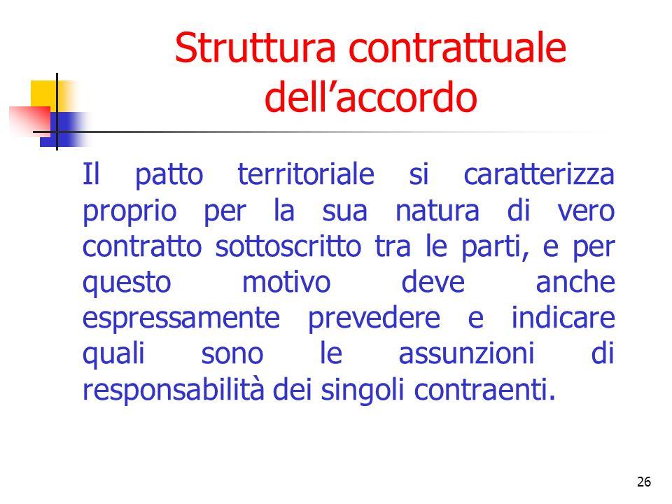 26 Struttura contrattuale dellaccordo Il patto territoriale si caratterizza proprio per la sua natura di vero contratto sottoscritto tra le parti, e p