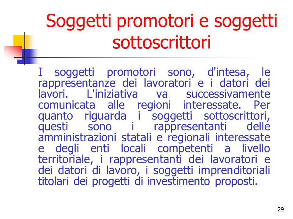 29 Soggetti promotori e soggetti sottoscrittori I soggetti promotori sono, d intesa, le rappresentanze dei lavoratori e i datori dei lavori.