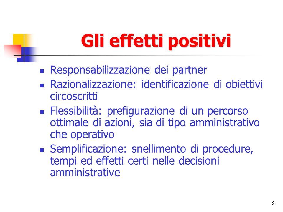 3 Gli effetti positivi Responsabilizzazione dei partner Razionalizzazione: identificazione di obiettivi circoscritti Flessibilità: prefigurazione di u
