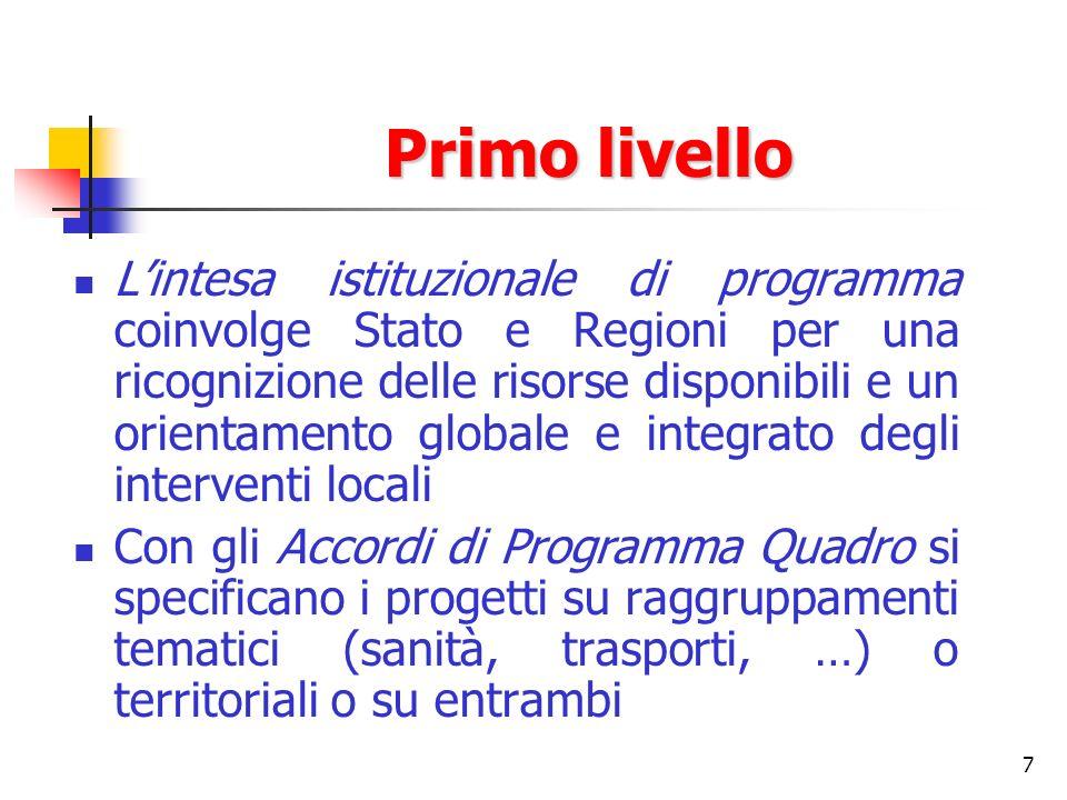 7 Primo livello Lintesa istituzionale di programma coinvolge Stato e Regioni per una ricognizione delle risorse disponibili e un orientamento globale