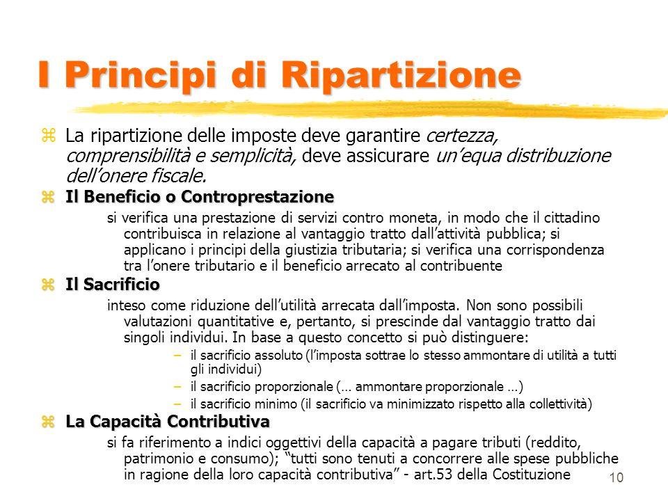 10 I Principi di Ripartizione zLa ripartizione delle imposte deve garantire certezza, comprensibilità e semplicità, deve assicurare unequa distribuzione dellonere fiscale.