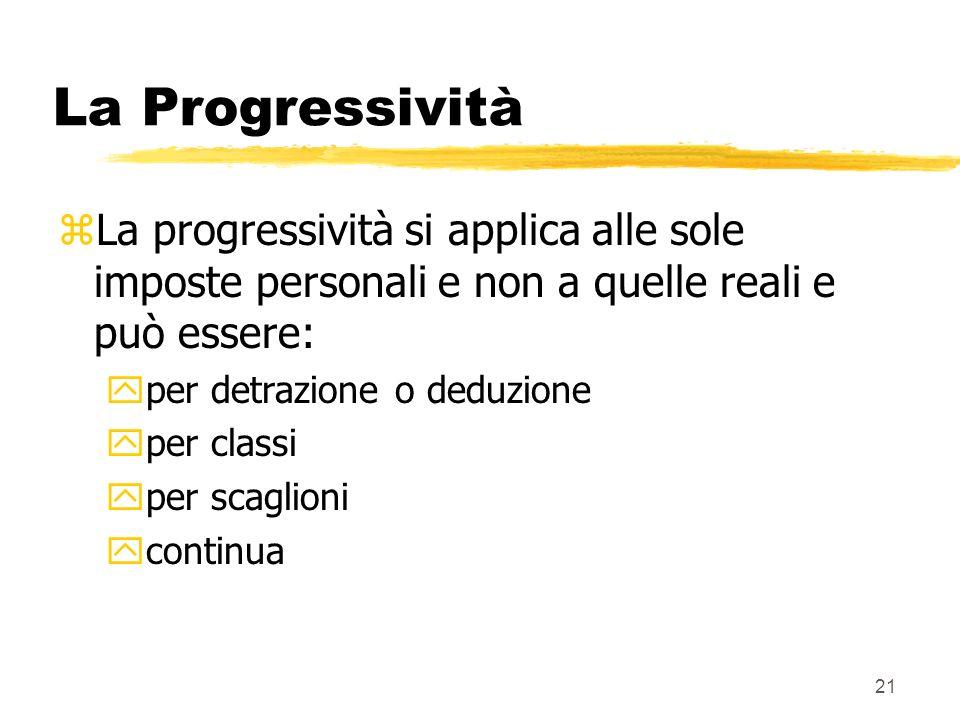 21 La Progressività zLa progressività si applica alle sole imposte personali e non a quelle reali e può essere: yper detrazione o deduzione yper classi yper scaglioni ycontinua