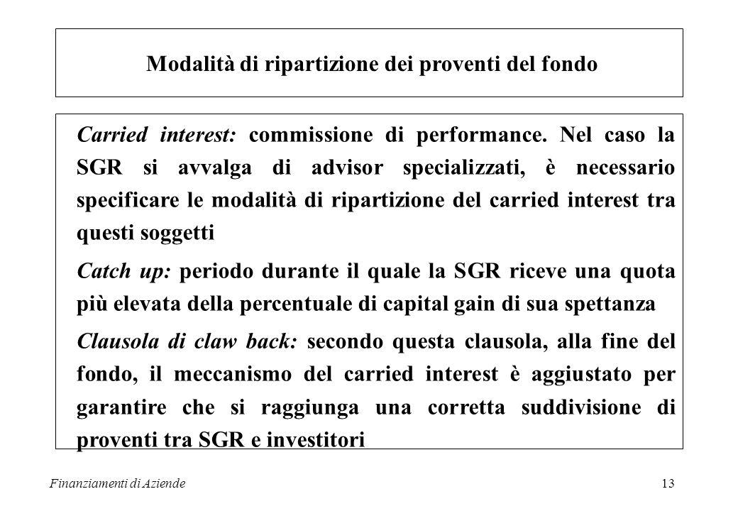 Finanziamenti di Aziende13 Modalità di ripartizione dei proventi del fondo Carried interest: commissione di performance. Nel caso la SGR si avvalga di
