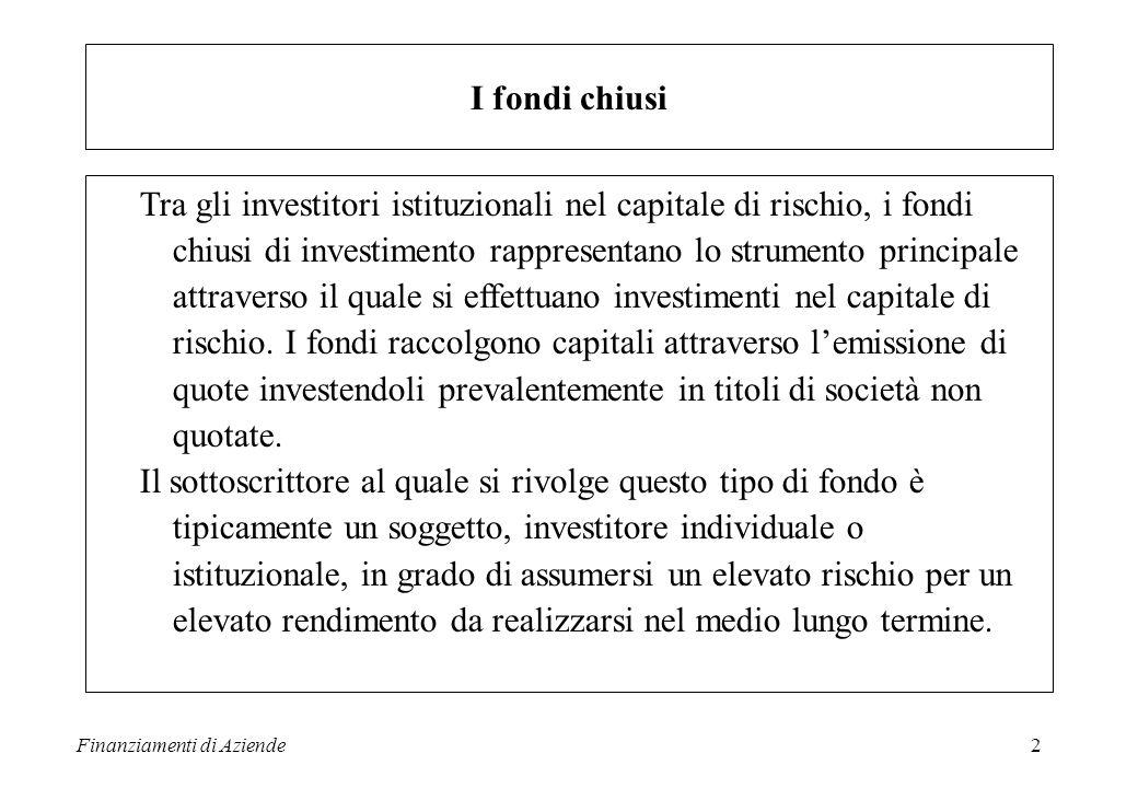 Finanziamenti di Aziende3 I vantaggi del fondo chiuso come strumento di PE & VC Separazione tra fondo e società di gestione Vita limitata Flessibilità, per cui si possono articolare prodotti differenti con obiettivi strategici distinti