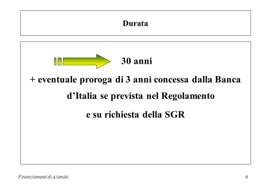 Finanziamenti di Aziende7 Quota minima di sottoscrizione 50.000 EURO