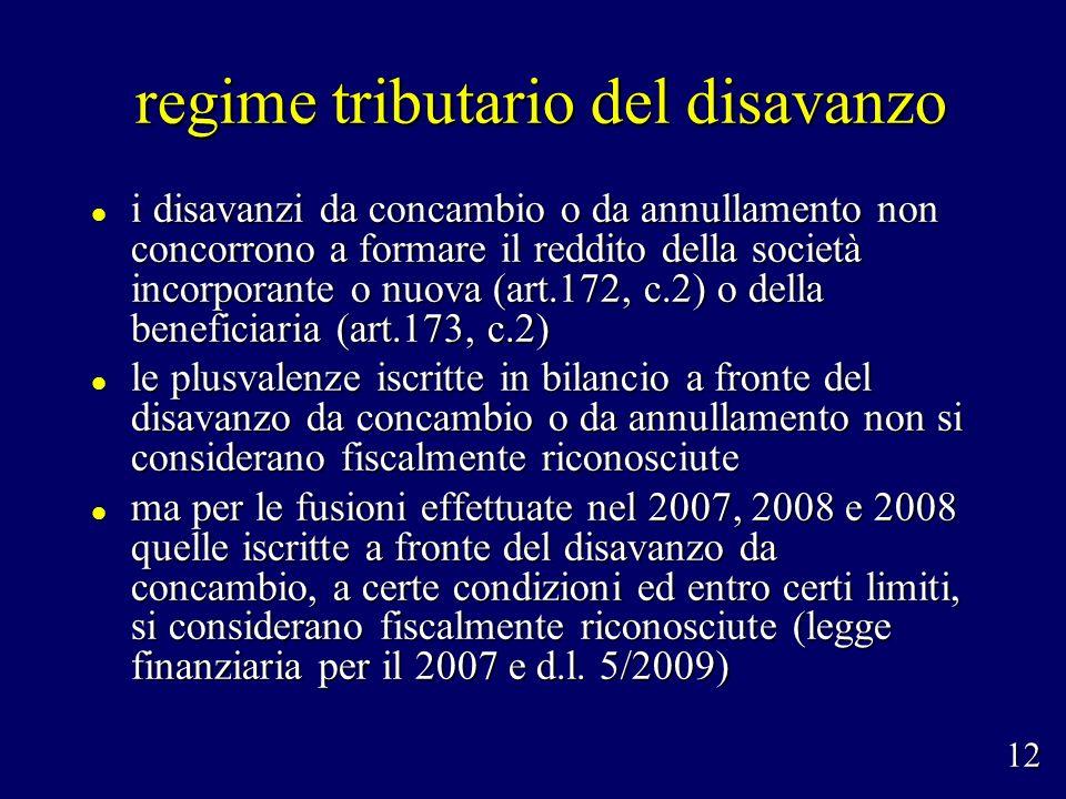 regime tributario del disavanzo regime tributario del disavanzo i disavanzi da concambio o da annullamento non concorrono a formare il reddito della s