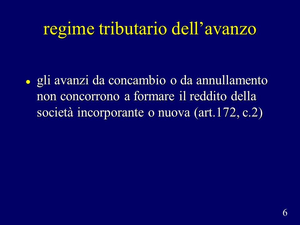regime tributario dellavanzo gli avanzi da concambio o da annullamento non concorrono a formare il reddito della società incorporante o nuova (art.172