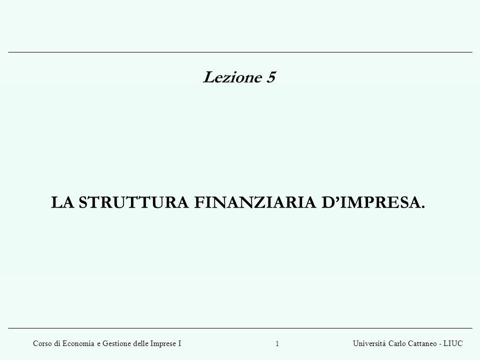 Corso di Economia e Gestione delle Imprese IUniversità Carlo Cattaneo - LIUC 2 La struttura finanziaria dimpresa Per struttura finanziaria si intende linsieme dei diversi titoli emessi da unimpresa / insieme delle fonti di finanziamento utilizzate da unimpresa.