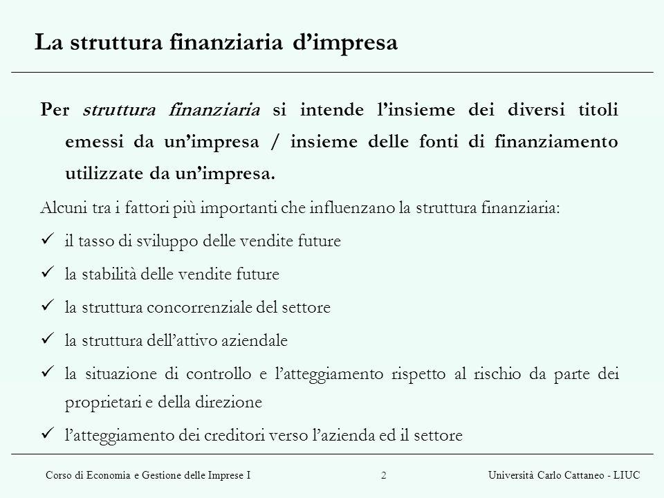 Corso di Economia e Gestione delle Imprese IUniversità Carlo Cattaneo - LIUC 23 Teoria dellordine di scelta fonti di finanziamento interne esterne capitale proprio capitale di debito 1.