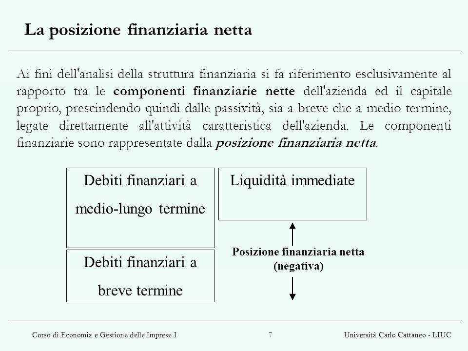 Corso di Economia e Gestione delle Imprese IUniversità Carlo Cattaneo - LIUC 18 Teoria tradizionale V (a) = valore di mercato dellimpresa D / E = rapporto di indebitamento