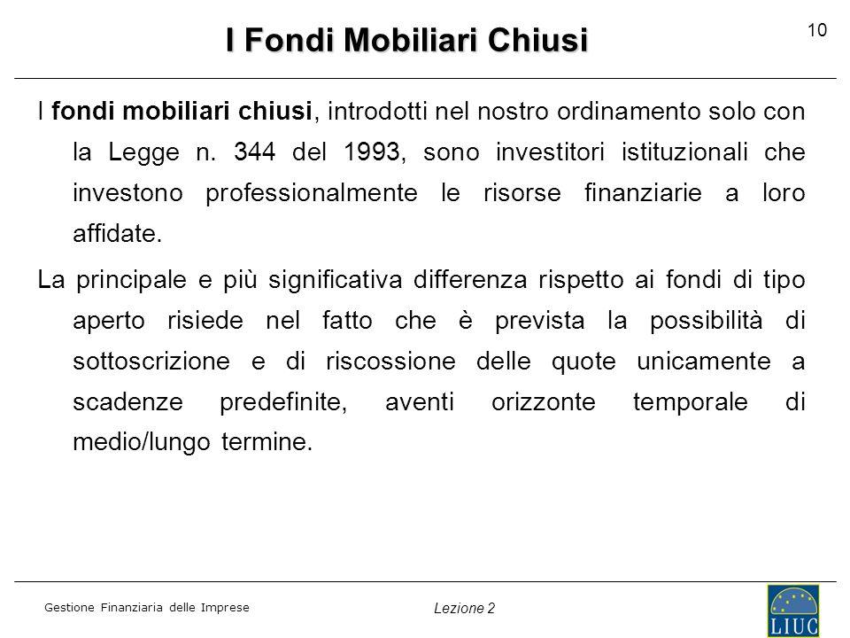 Gestione Finanziaria delle Imprese Lezione 2 10 I Fondi Mobiliari Chiusi I fondi mobiliari chiusi, introdotti nel nostro ordinamento solo con la Legge