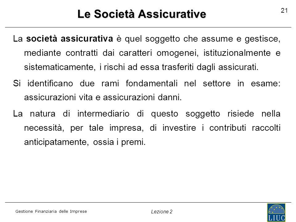 Gestione Finanziaria delle Imprese Lezione 2 21 Le Società Assicurative La società assicurativa è quel soggetto che assume e gestisce, mediante contra