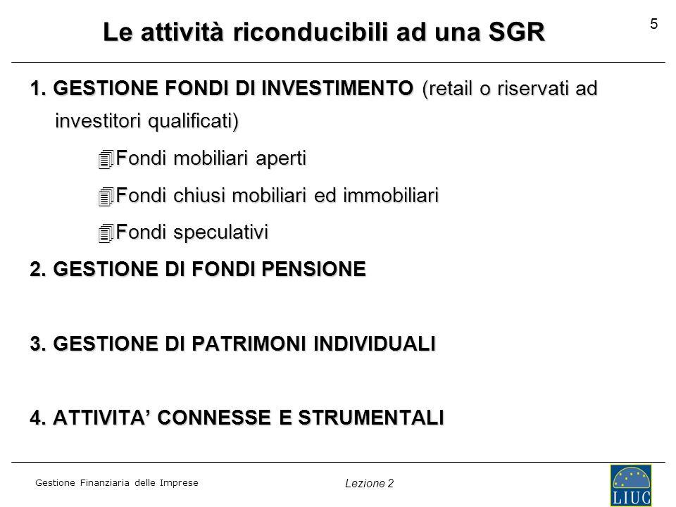 Gestione Finanziaria delle Imprese Lezione 2 5 Le attività riconducibili ad una SGR 1. GESTIONE FONDI DI INVESTIMENTO (retail o riservati ad investito