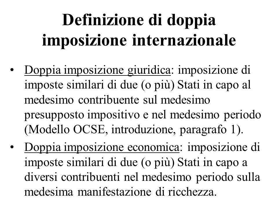 Definizione di doppia imposizione internazionale Doppia imposizione giuridica: imposizione di imposte similari di due (o più) Stati in capo al medesim
