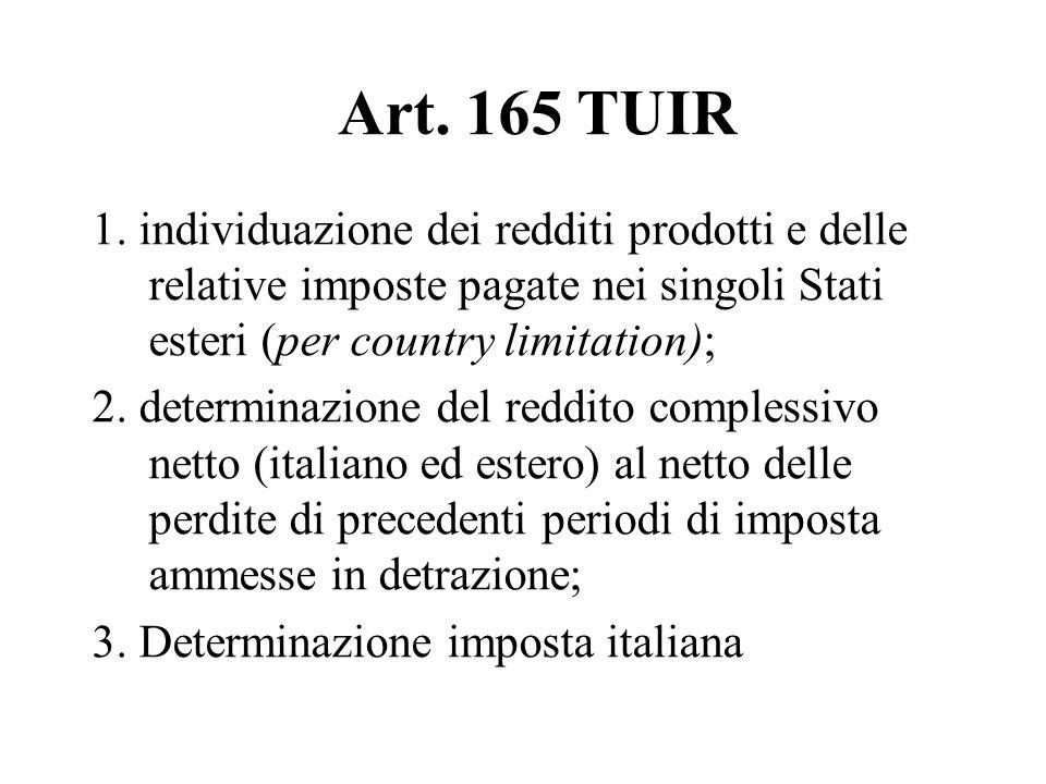 Art. 165 TUIR 1. individuazione dei redditi prodotti e delle relative imposte pagate nei singoli Stati esteri (per country limitation); 2. determinazi