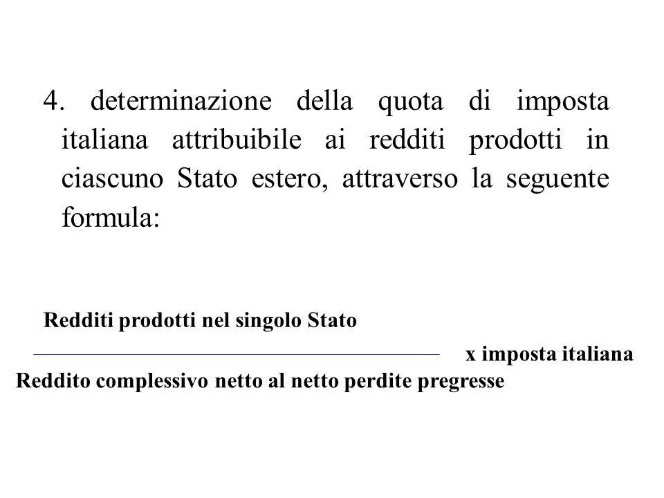 4. determinazione della quota di imposta italiana attribuibile ai redditi prodotti in ciascuno Stato estero, attraverso la seguente formula: Redditi p