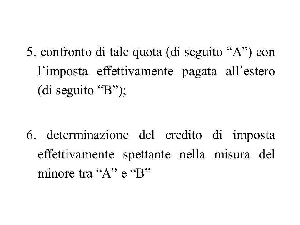 5. confronto di tale quota (di seguito A) con limposta effettivamente pagata allestero (di seguito B); 6. determinazione del credito di imposta effett