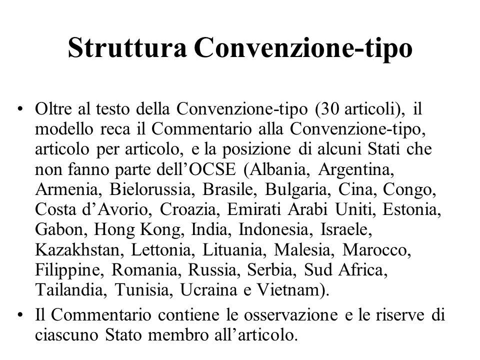 Struttura Convenzione-tipo Oltre al testo della Convenzione-tipo (30 articoli), il modello reca il Commentario alla Convenzione-tipo, articolo per art