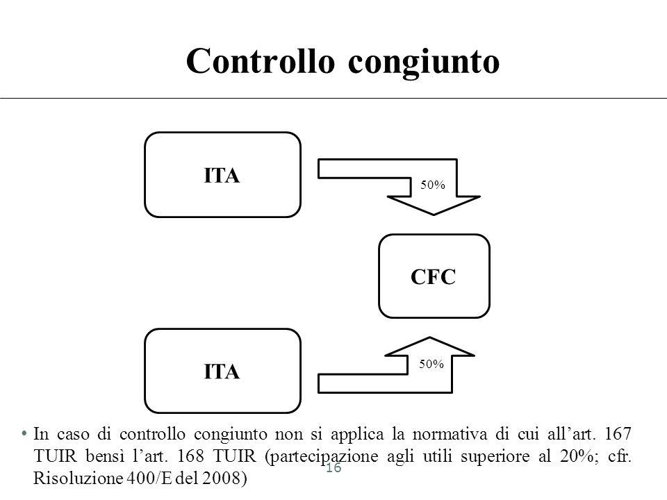 Vincolo contrattuale ITA CFC 20% Vincolo contrattuale 15
