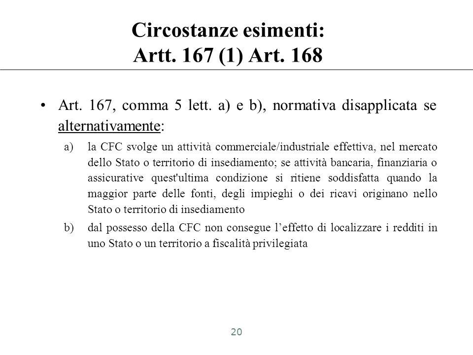 Art. 167 (1) e Art. 168: jurisdictional approach Soggetto controllato/collegato residente o localizzato in Stato o territorio black list: –Stati o ter