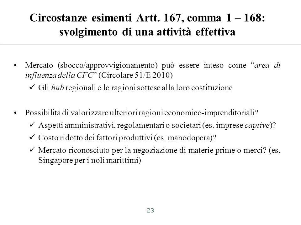 Circolare 51/E 2010: –«il riferimento al mercato è normalmente da intendersi come collegamento al mercato di sbocco o al mercato di approvvigionamento