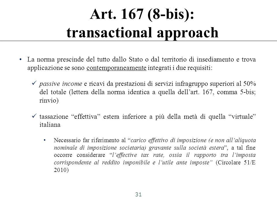 CFC white list: Art. 167 (8-bis) La disciplina di cui al comma 1 trova applicazione anche nell'ipotesi in cui i soggetti controllati ai sensi dello st