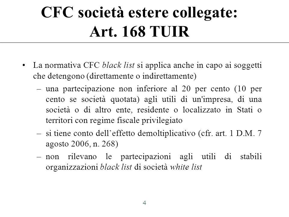 CFC black list: Art. 167, comma 1 TUIR «Se un soggetto residente in Italia detiene, direttamente o indirettamente, anche tramite società fiduciarie o