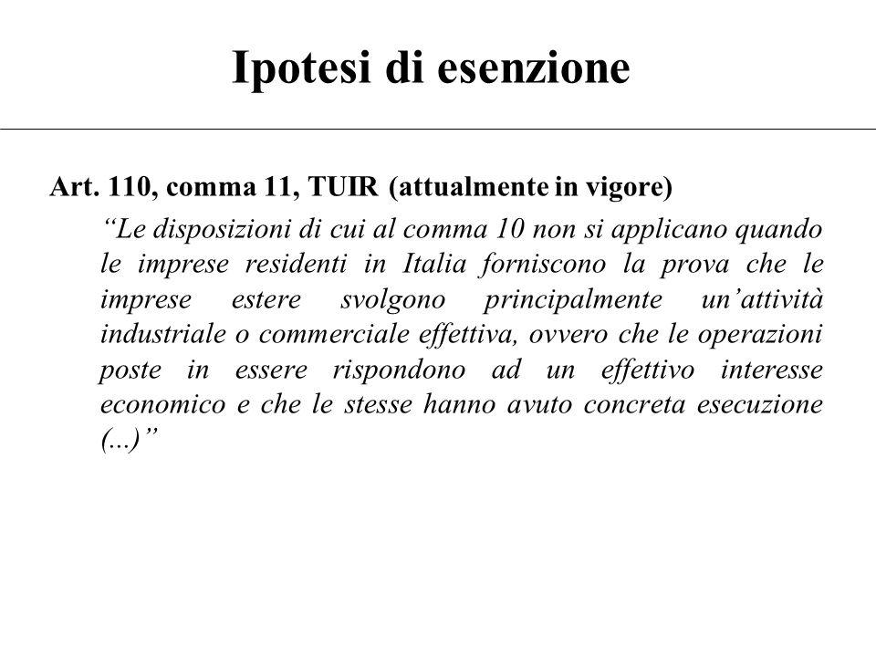 Presupposti territoriali Regime ante-Finanziaria 2008: Black List –Decreto del Ministro delle Finanze Livello di tassazione sensibilmente inferiore Ma