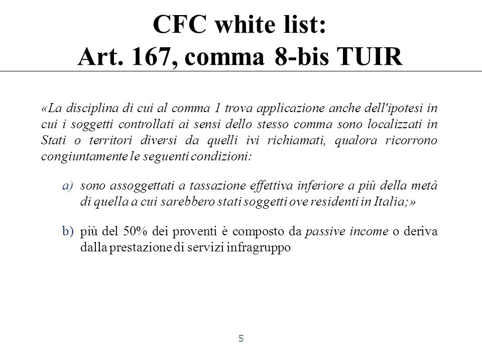CFC white list: Art.