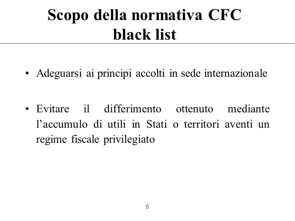 CFC white list: Art. 167, comma 8-bis TUIR «La disciplina di cui al comma 1 trova applicazione anche dell'ipotesi in cui i soggetti controllati ai sen