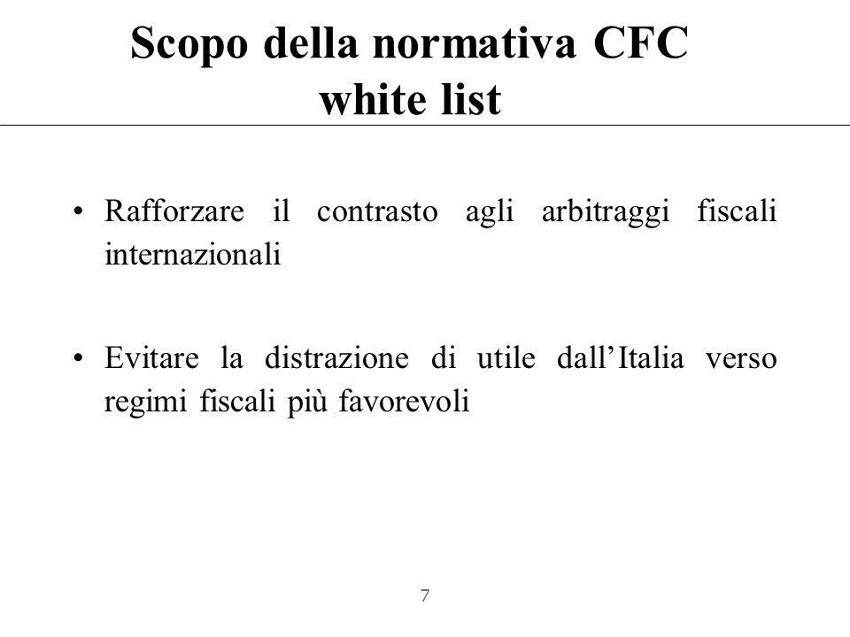 Scopo della normativa CFC white list Rafforzare il contrasto agli arbitraggi fiscali internazionali Evitare la distrazione di utile dallItalia verso regimi fiscali più favorevoli 7