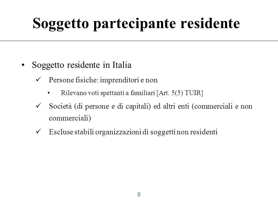 Soggetto partecipante residente Soggetto residente in Italia Persone fisiche: imprenditori e non Rilevano voti spettanti a familiari [Art.