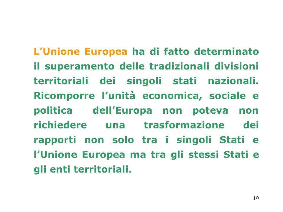 10 LUnione Europea ha di fatto determinato il superamento delle tradizionali divisioni territoriali dei singoli stati nazionali. Ricomporre lunità eco