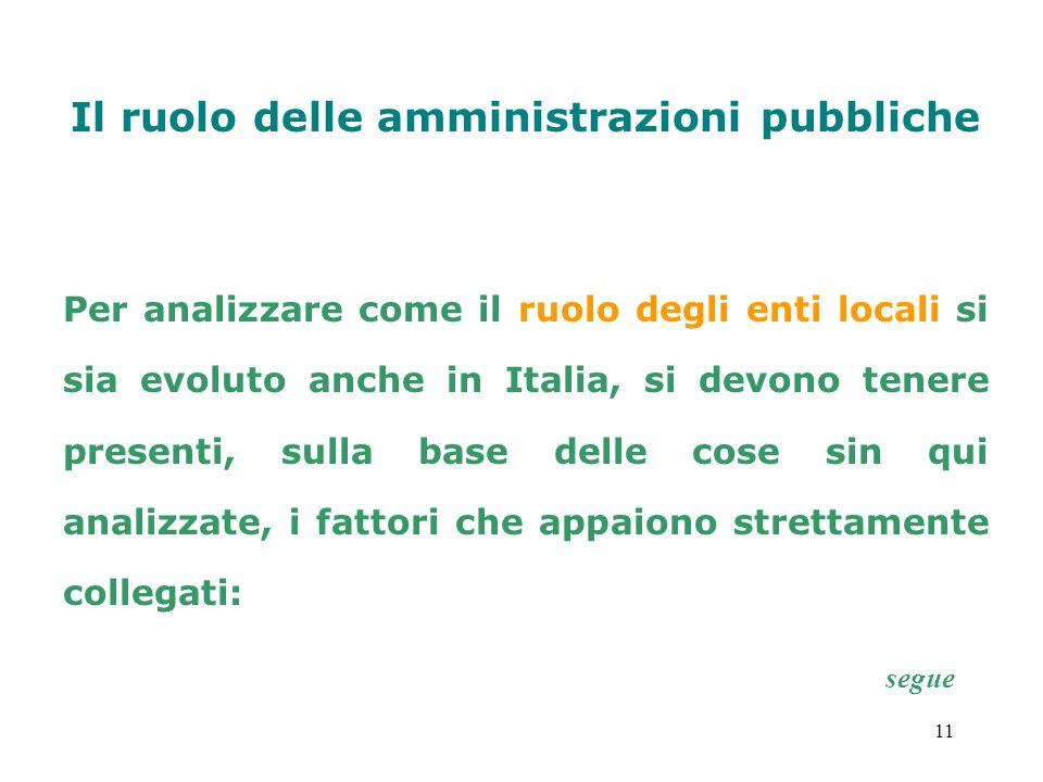 11 Il ruolo delle amministrazioni pubbliche Per analizzare come il ruolo degli enti locali si sia evoluto anche in Italia, si devono tenere presenti,