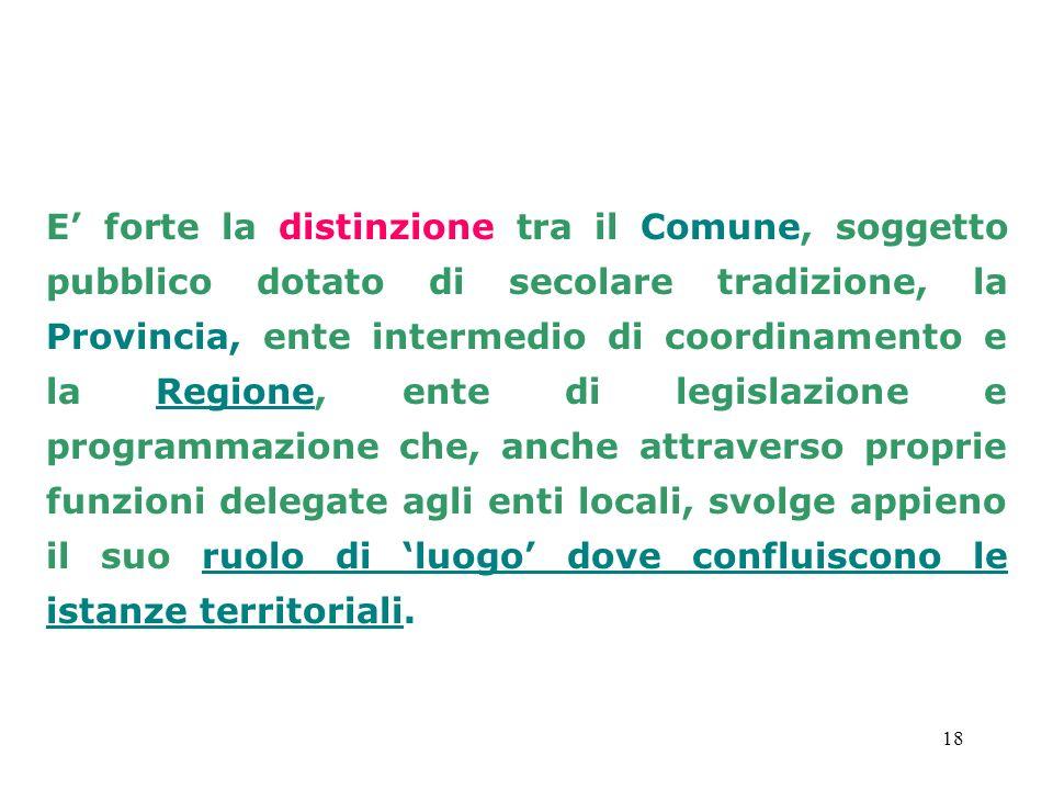 18 E forte la distinzione tra il Comune, soggetto pubblico dotato di secolare tradizione, la Provincia, ente intermedio di coordinamento e la Regione,