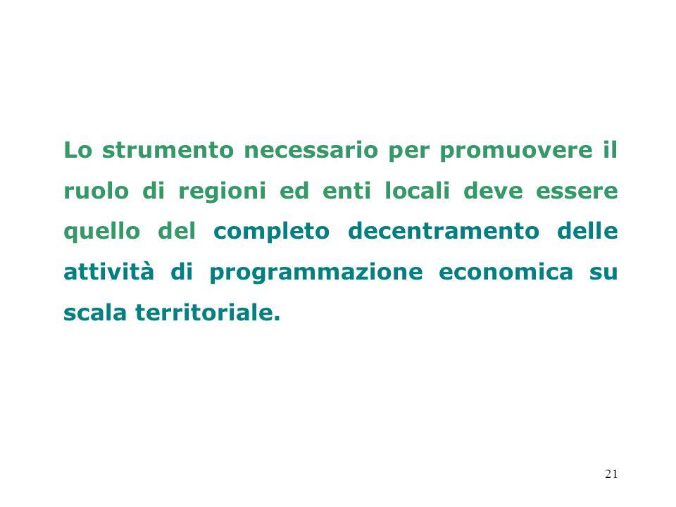21 Lo strumento necessario per promuovere il ruolo di regioni ed enti locali deve essere quello del completo decentramento delle attività di programma
