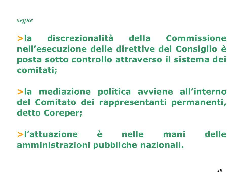 28 >la discrezionalità della Commissione nellesecuzione delle direttive del Consiglio è posta sotto controllo attraverso il sistema dei comitati; >la