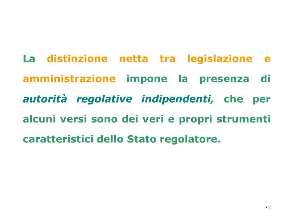 32 La distinzione netta tra legislazione e amministrazione impone la presenza di autorità regolative indipendenti, che per alcuni versi sono dei veri