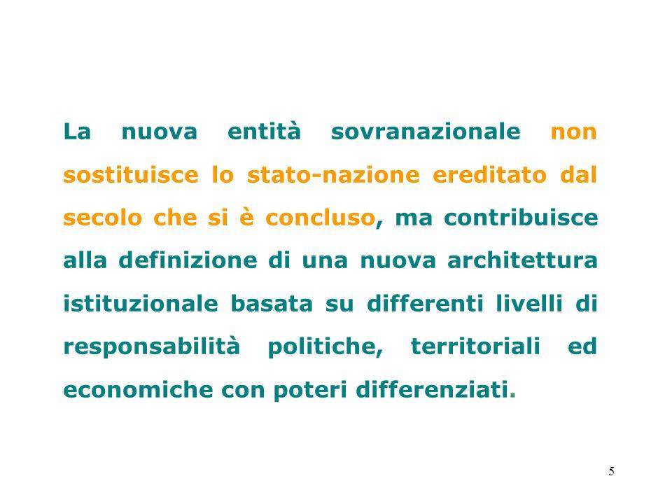 6 Su uno stesso territorio è possibile programmare, allinterno di uno scenario ben definito, interventi differenziati che impattano sulleconomia locale e sulla coesione sociale attraverso strumenti differenziati e con la parallela partecipazione di diversi livelli istituzionali.
